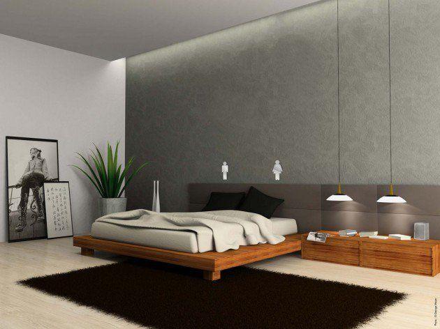 Minimalist Bedroom With Queen Size Brown Black Comforter ...