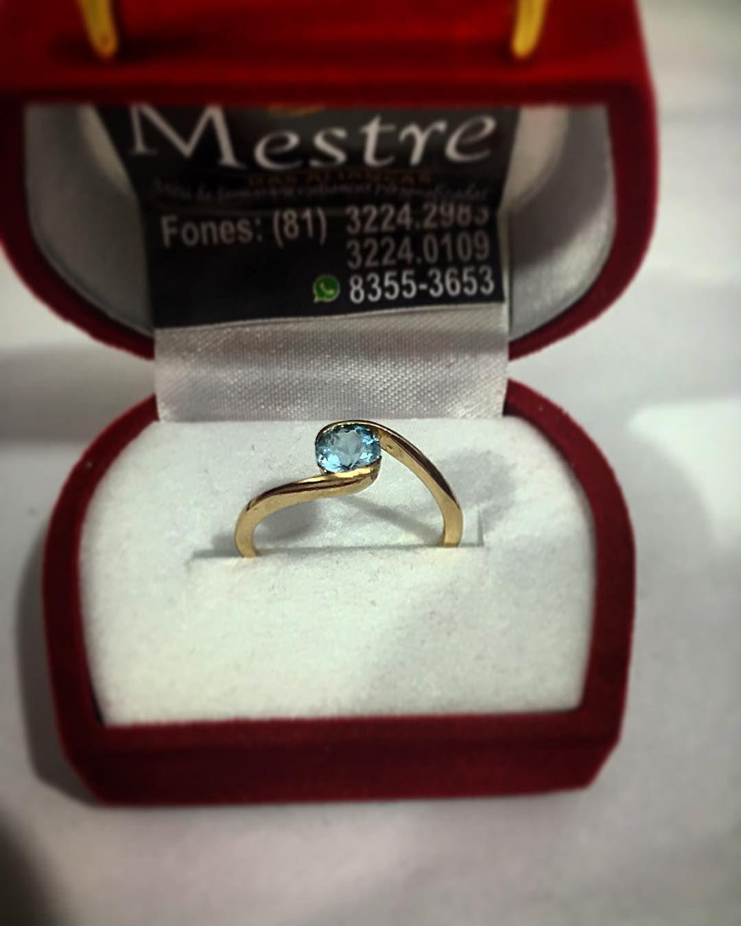 "ddfb824c099a5 Anel em ouro 18K. Pedra natural. Água marinha.""   Joias   Jewelry"