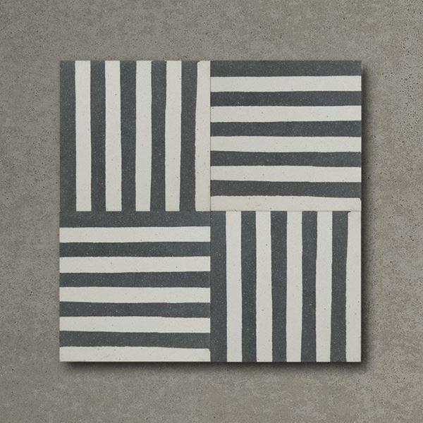 Dark Blue Stripes Handmade Encaustic Cement Floor Tile   Otto Tiles & Design   Encaustic ...