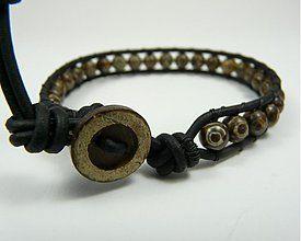 Náramky - Kožený náramok pánsky s kameňmi: tibetský achát dZi - 2906173