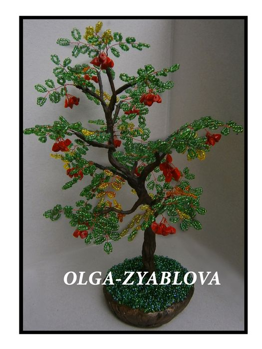 Beaded tree with coral chippings