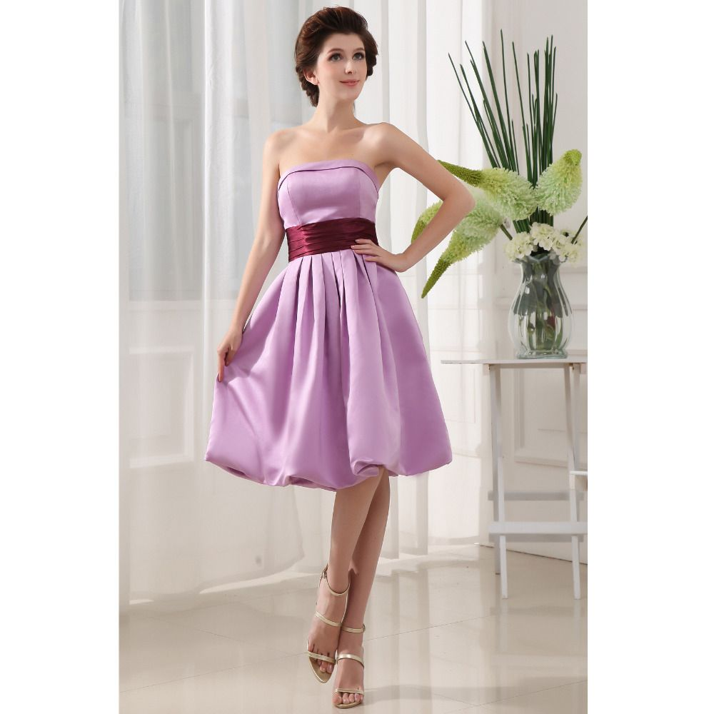 Custom made vestido de festa curto lavender satin sash knee length