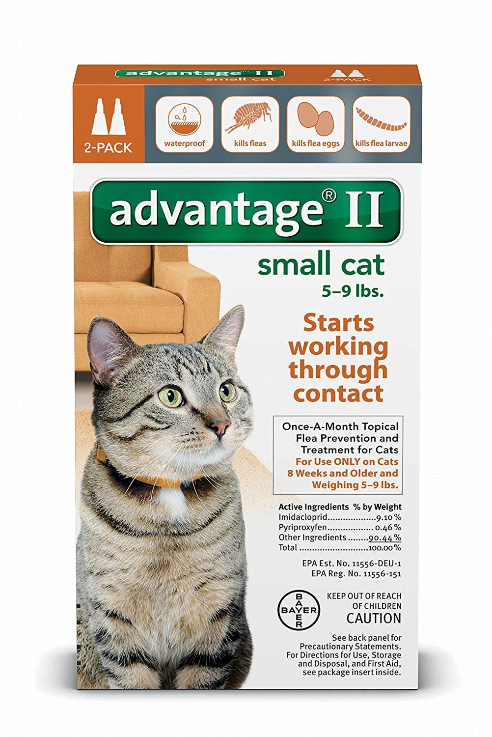 Advantage Ii Small Cat 2 Pack Find Out More About The Great Product At The Image Link Cat Fleas Flea Control For Cats Small Cat