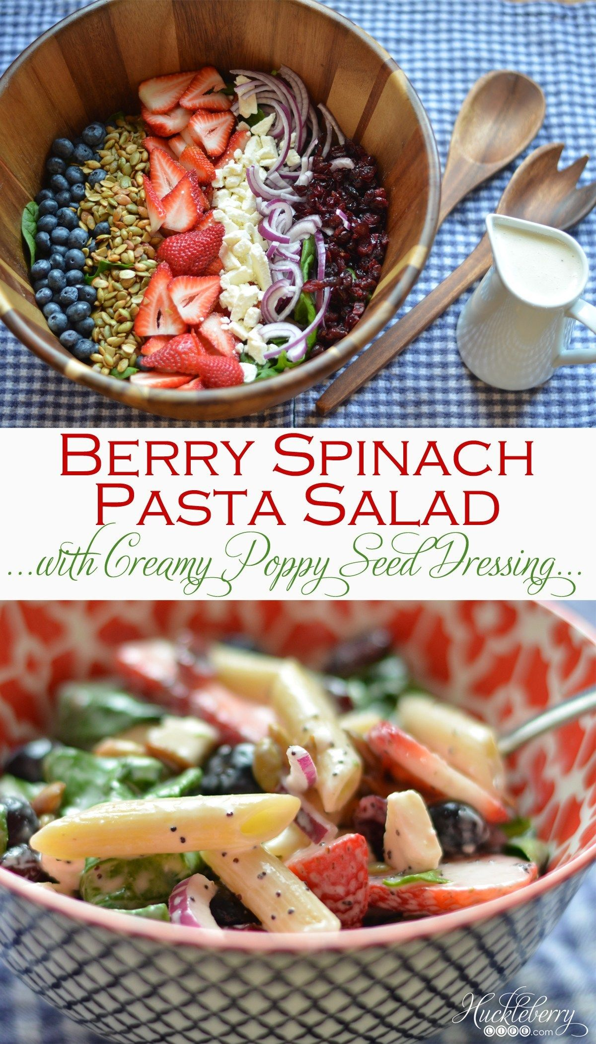 Berry spinach pasta salad with creamy poppy seed dressing