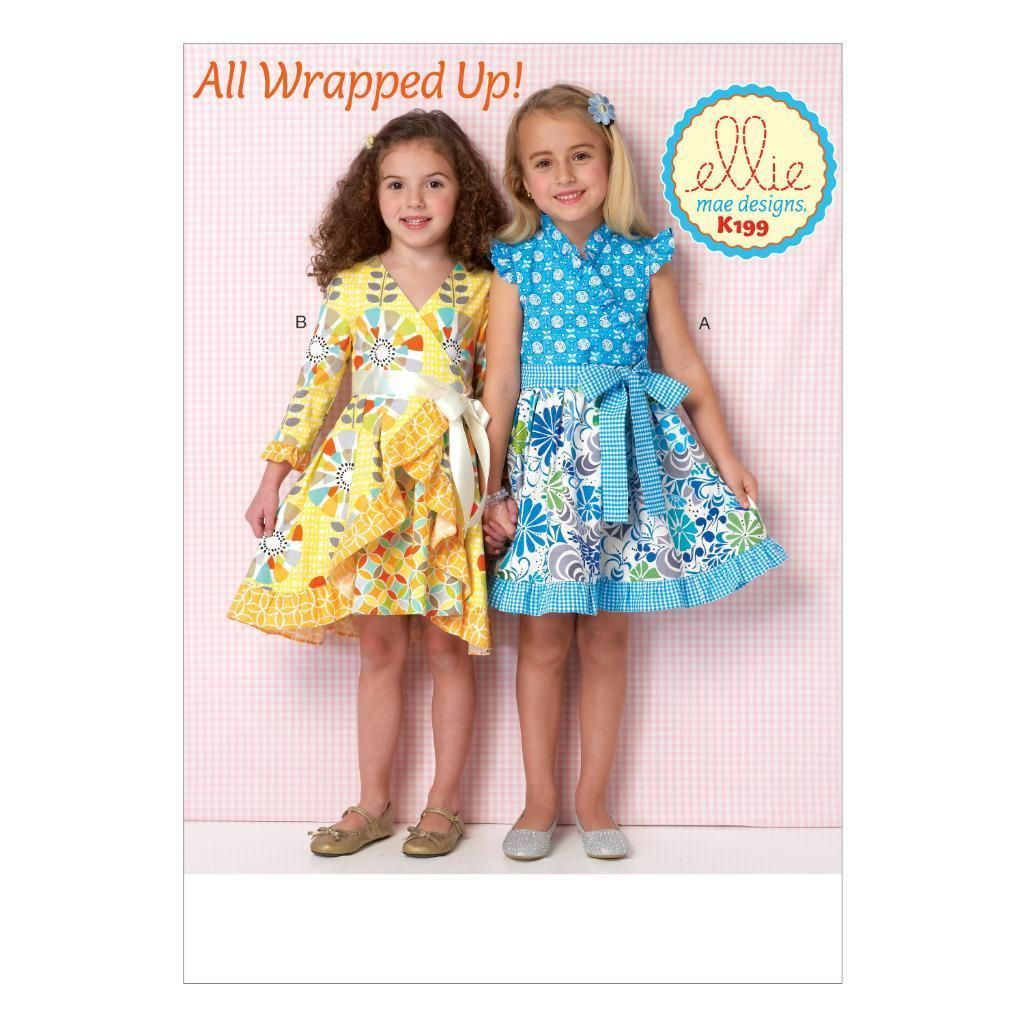 Kwik Sew Sewing Pattern Ellie Mae All Wrapped Up Girls\' Wrap Dresses ...