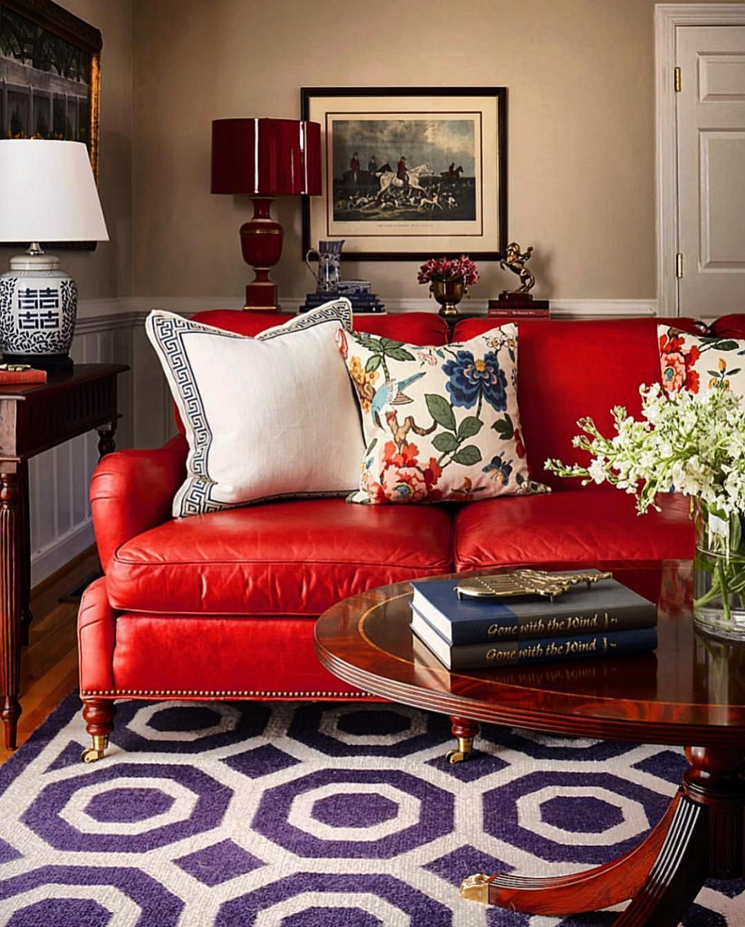 Delightful Living Room Featuring This Marvelous Red Sofa Interior Design By The Talen Red Leather Sofa Living Room Red Sofa Living Room Red Couch Living Room