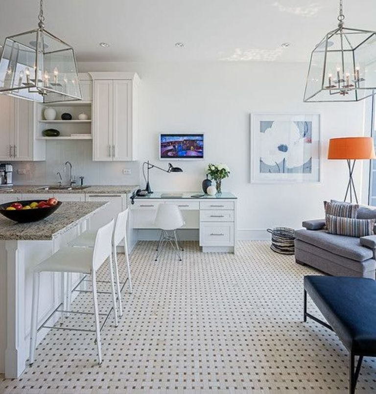 Tiny Condo Interior Design With White Walls And Wall Art