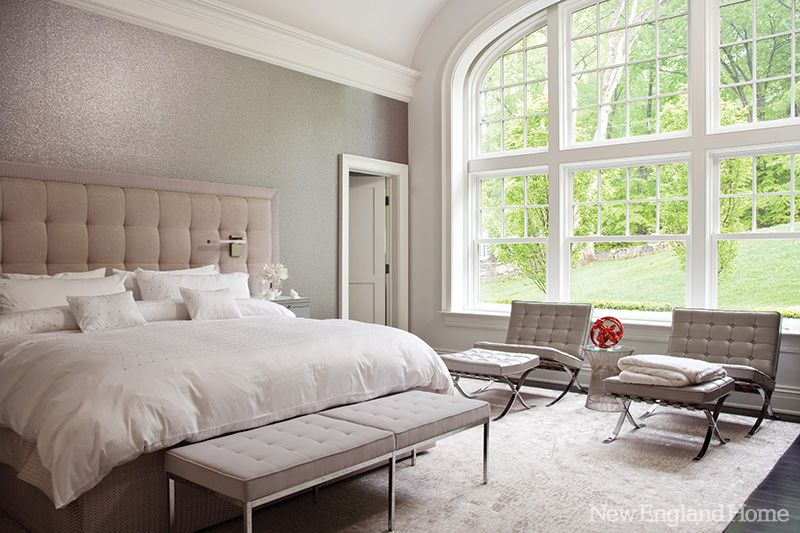 Barcelona Chairs And Upholstered Midcentury Benches Add Verve To A Serene Master Bedroom