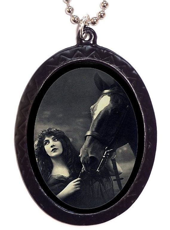 Art Nouveau Woman With Horse Necklace Pendant Flapper Art Deco