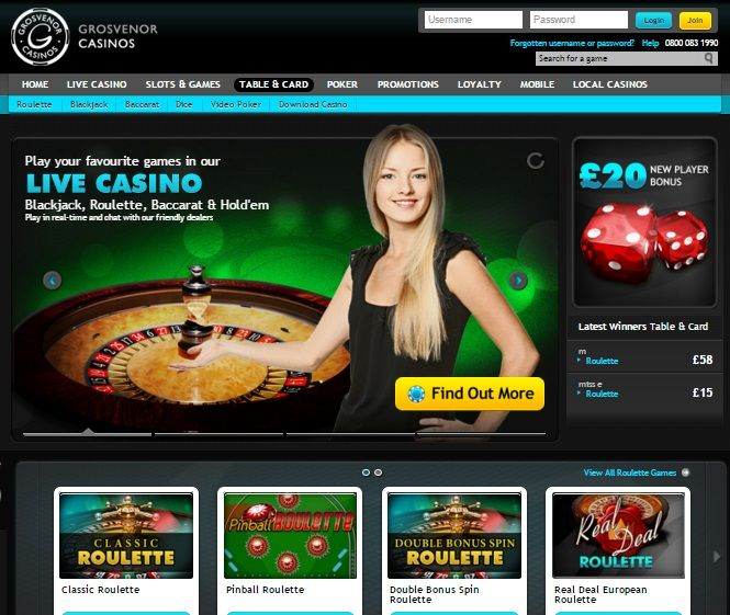 grosvenor online casino home page screenshot