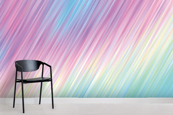 3d Psychedelic Color Shiny Lines Texture Pastel Rainbow Etsy Feature Wall Wallpaper Psychedelic Colors Peel And Stick Wallpaper