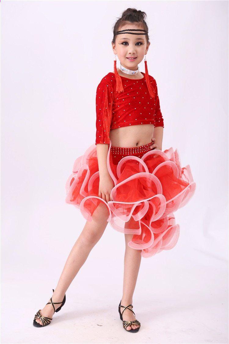 4 PCS gyermek latin táncruhák gyerekek Ballroom táncruhák lány modern  táncruha nők Vestido Waltz színpad táncruházat 89 9d876f4f2e