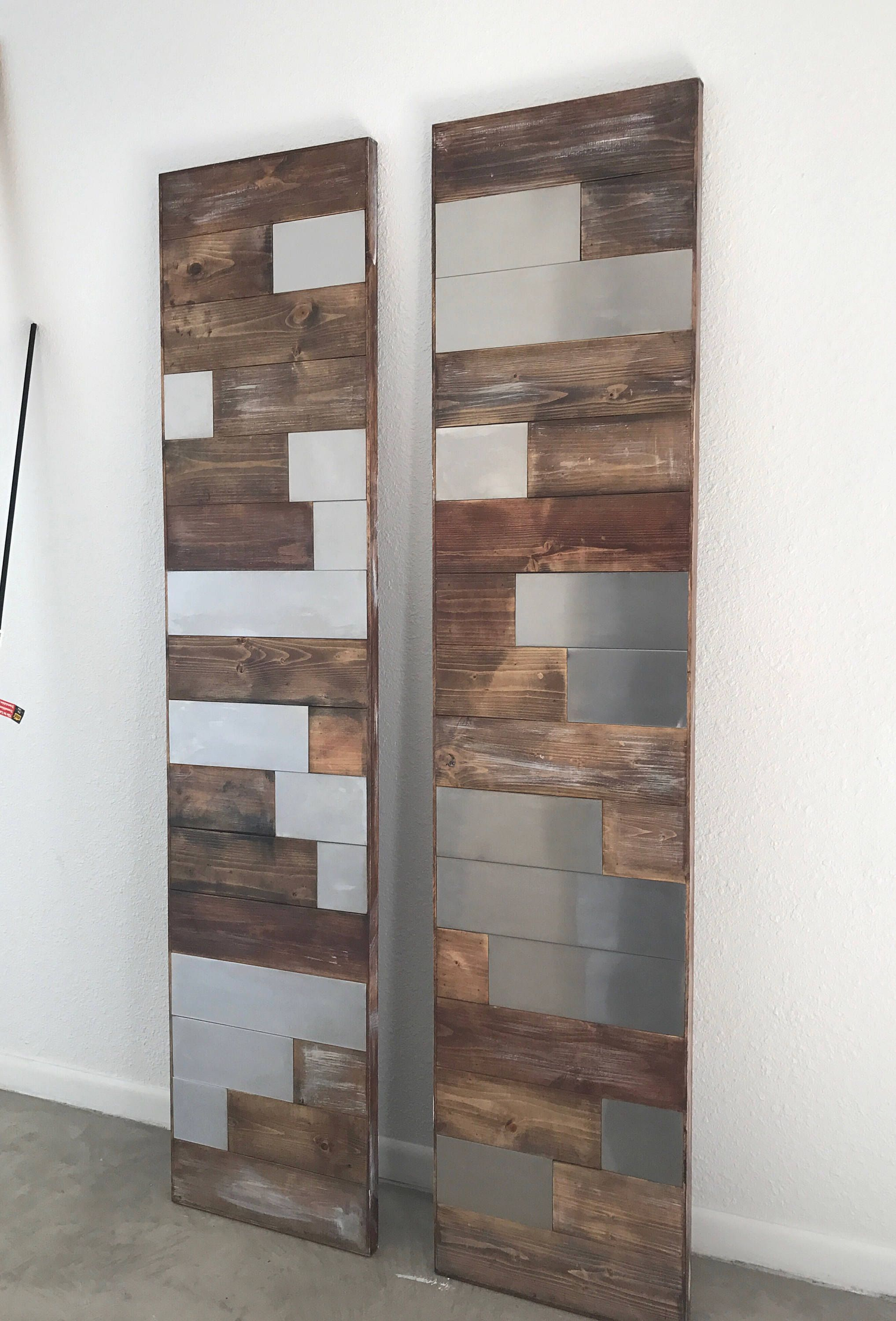 Horizontal Staggered Plank Wood And Metal Barn Door Modern Barn Door Barn Door Metal Barn