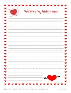 heart writing paper with lines