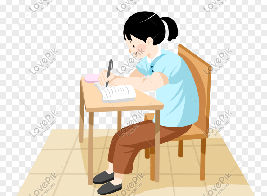 29 Gambar Kartun Pelajar Sedang Belajar Gadis Tangan