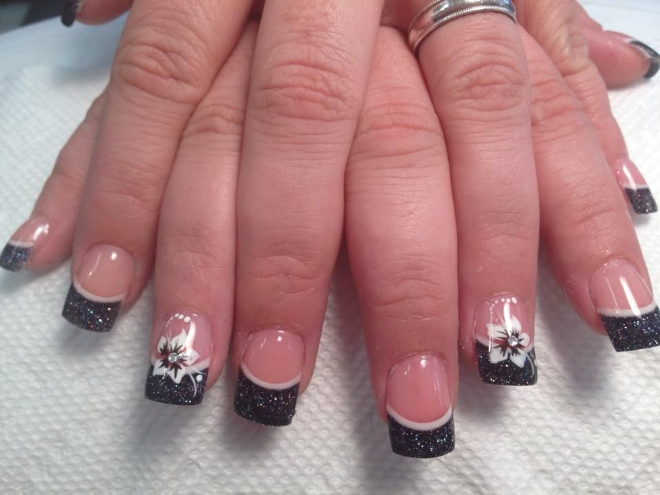 Sparkly black tip with thin crescent moon line above flesh moonlight stargazer lily nail designs by top nailssparkly black tip with thin crescent moon line above flesh colored nail white stargazer lily prinsesfo Images