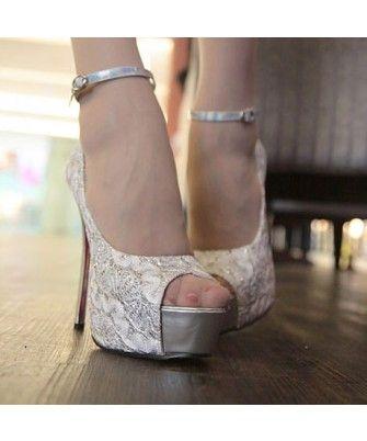 Elegant Peep Toe Ankle Strap Floral Print  High Heels