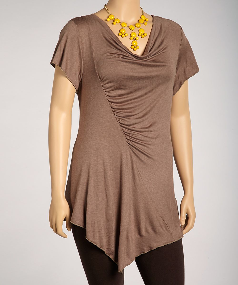 Light Brown Ruched Top - Plus