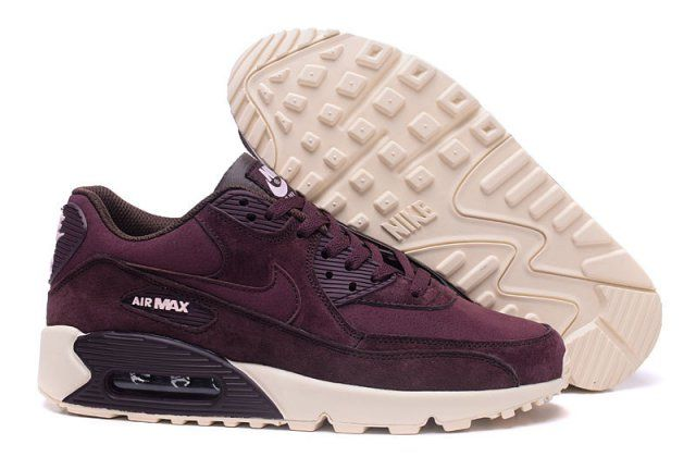 new styles 05665 f88bd Hot Sale Nike Air Max 90 Leather Purple Burgundy Beige 768887 302 Mens  Womens Running Shoes - Cheapinus.com