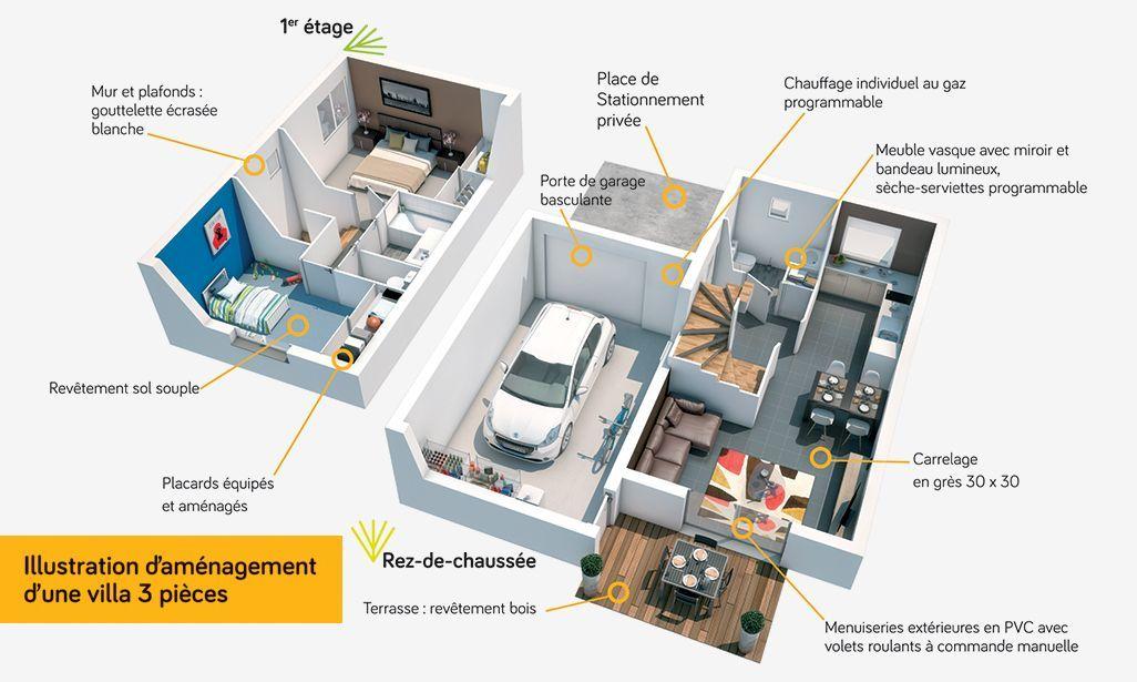 Villa Obélie, un programme immobilier neuf à Castelginest (31780 - plan d une maison en 3d