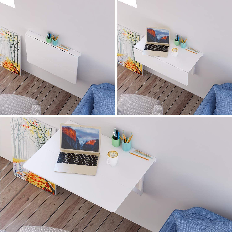 Wandklapptisch Küche.Homfa Wandtisch Klappbar 80x60cm Weiß Mit 2 Halterungen
