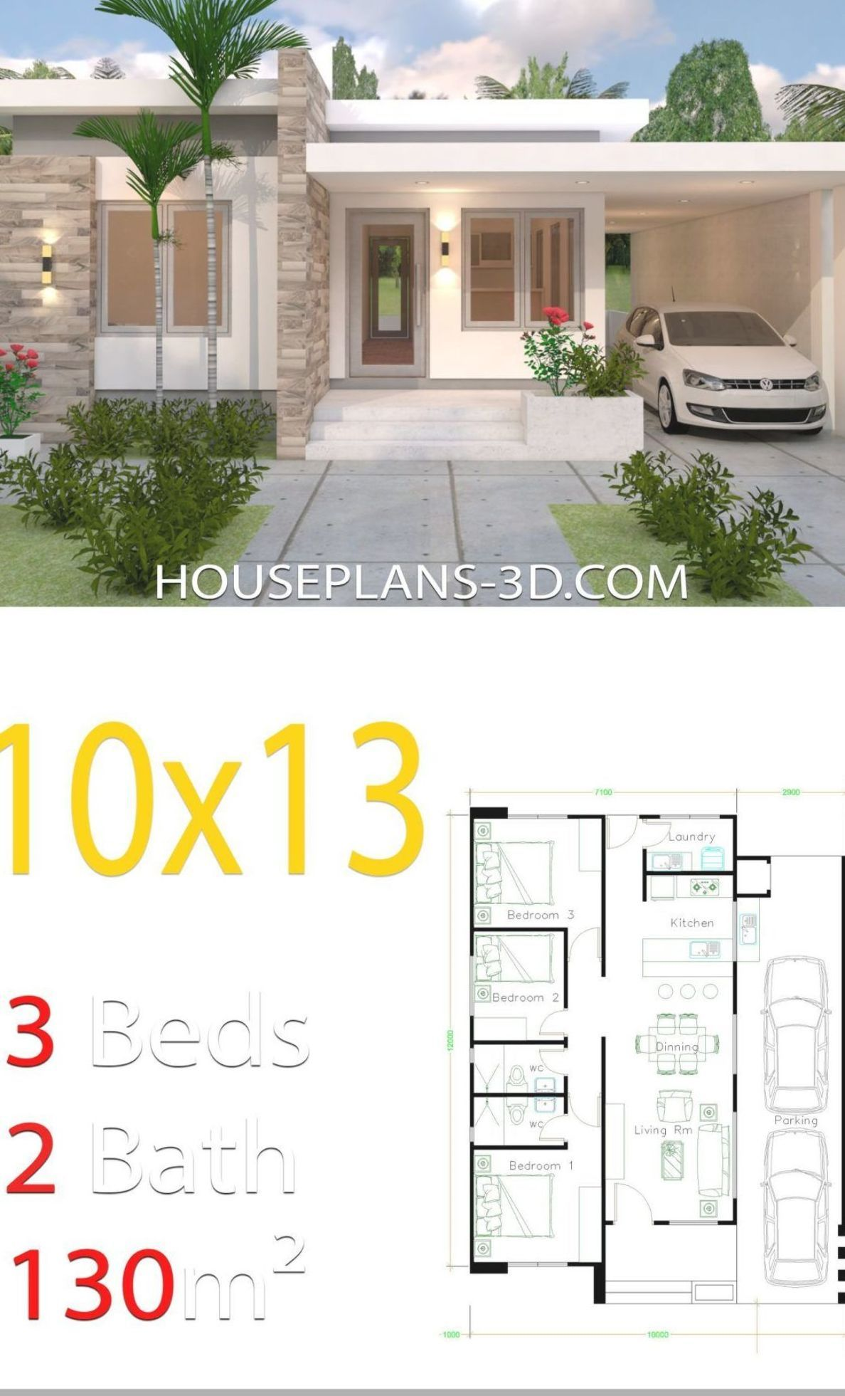 House Design 10x13 with 3 Bedrooms Full Plans - House ...