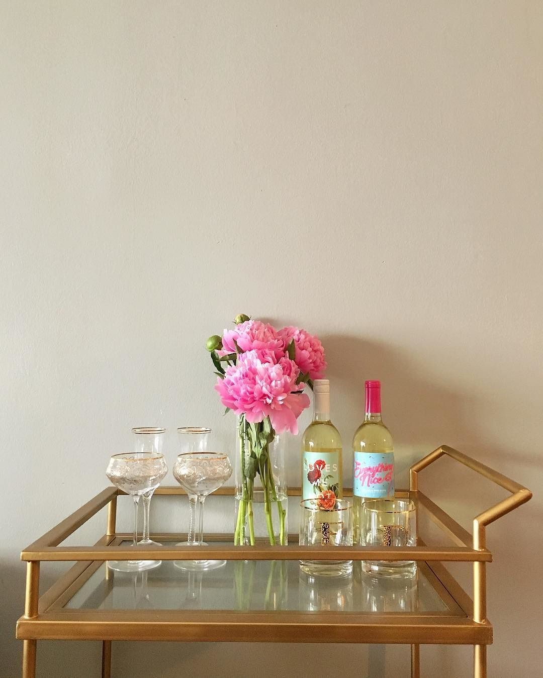 "Beautiful bar cart. Member mserikakaka: ""Peony season? Wine Wednesday? Yes, please """
