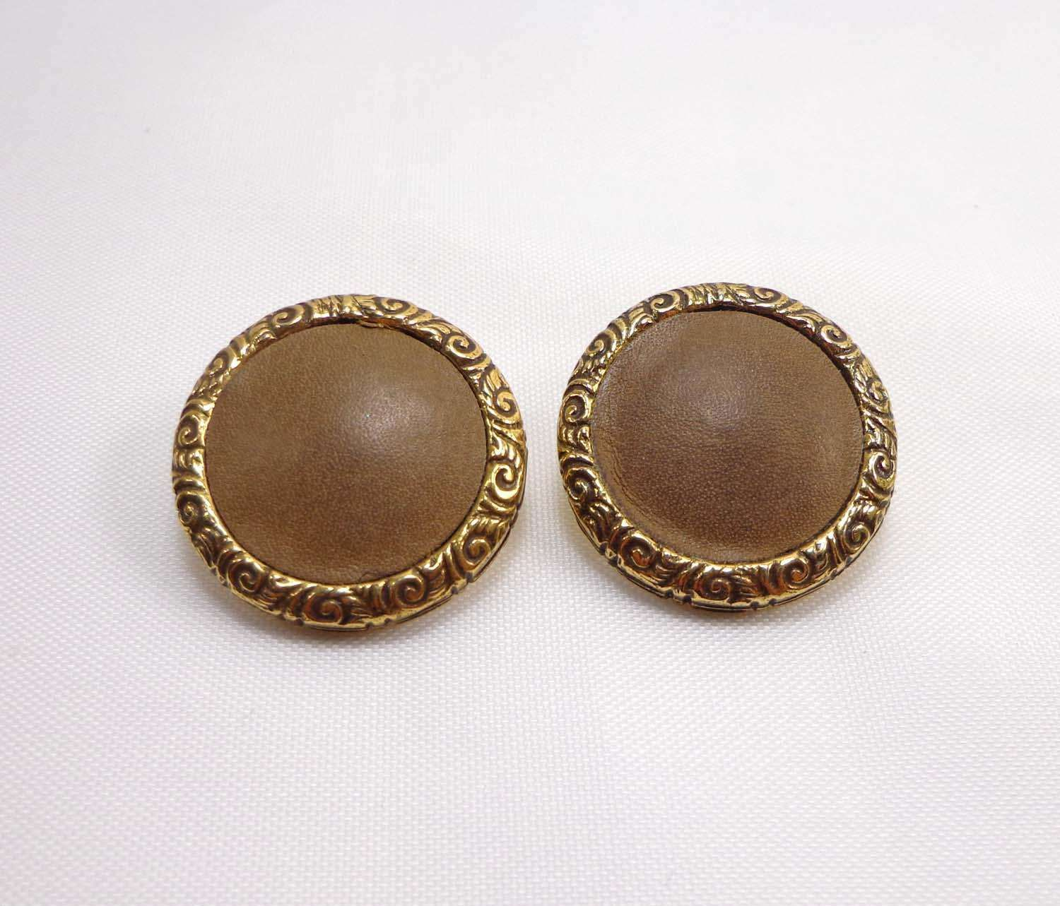 Bergere Earrings Signed Clip Ons Clip Backs Brown Leather Gold Metal Scroll 921 by JellyBellyJewels on Etsy