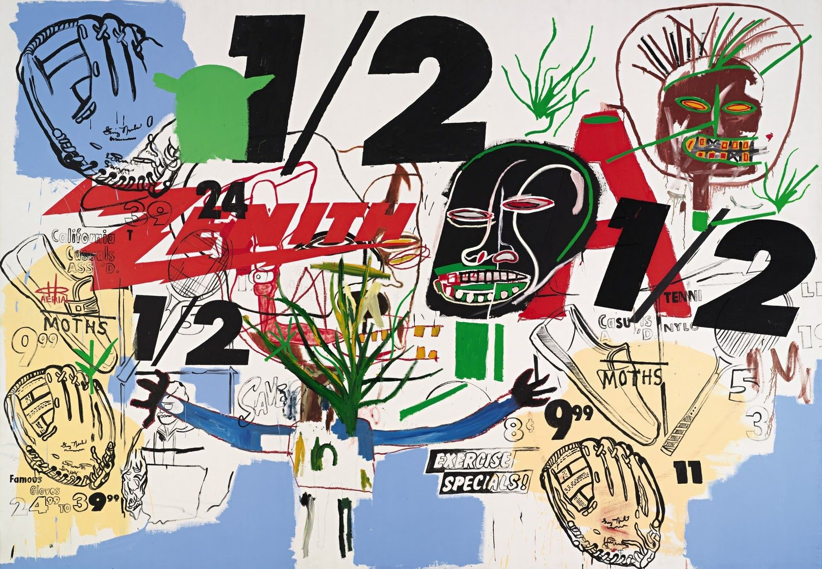 Andy Warhol and Jean-Michel Basquiat, Untitled (Zenith-½), 1984 (sold at  Sothebys's on 5-12-2010 for $2,658,500) | Jean michel basquiat, Basquiat  art, Basquiat