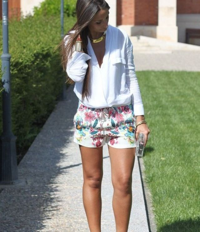 preppy hair styles floral shorts looks preferidos 7371