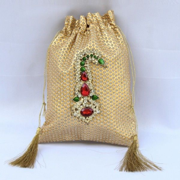 Small Golden Zari Potli Wd Kalgi Broach (Click To Buy | Only Rs 400)