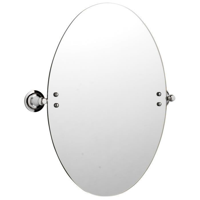 Wall Mounted Oval Tilting Glass Bathroom Mirror With Fixings Chrome Brackets