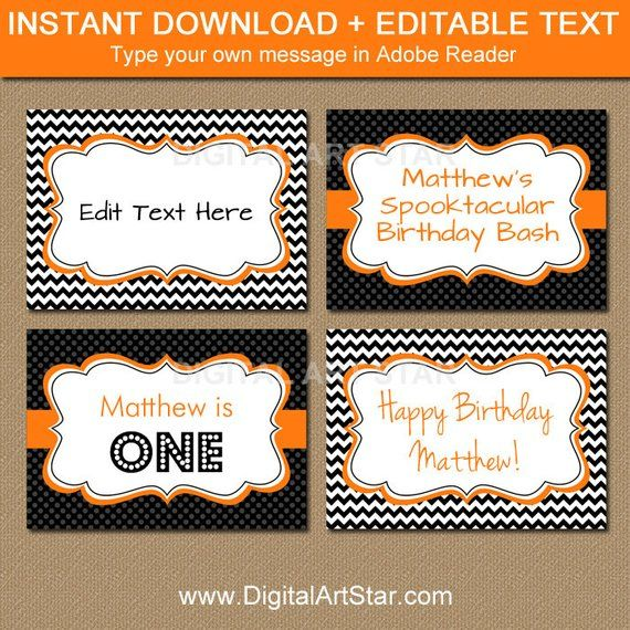 Printable Labels Editable Buffet Cards Birthday Food Label