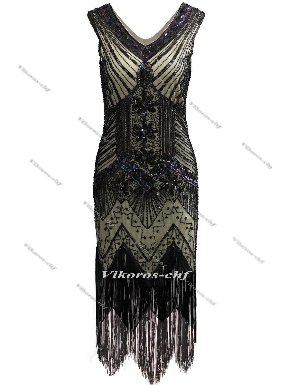Gatsby dress us vintage fringe flapper dress sequin beaded fancy