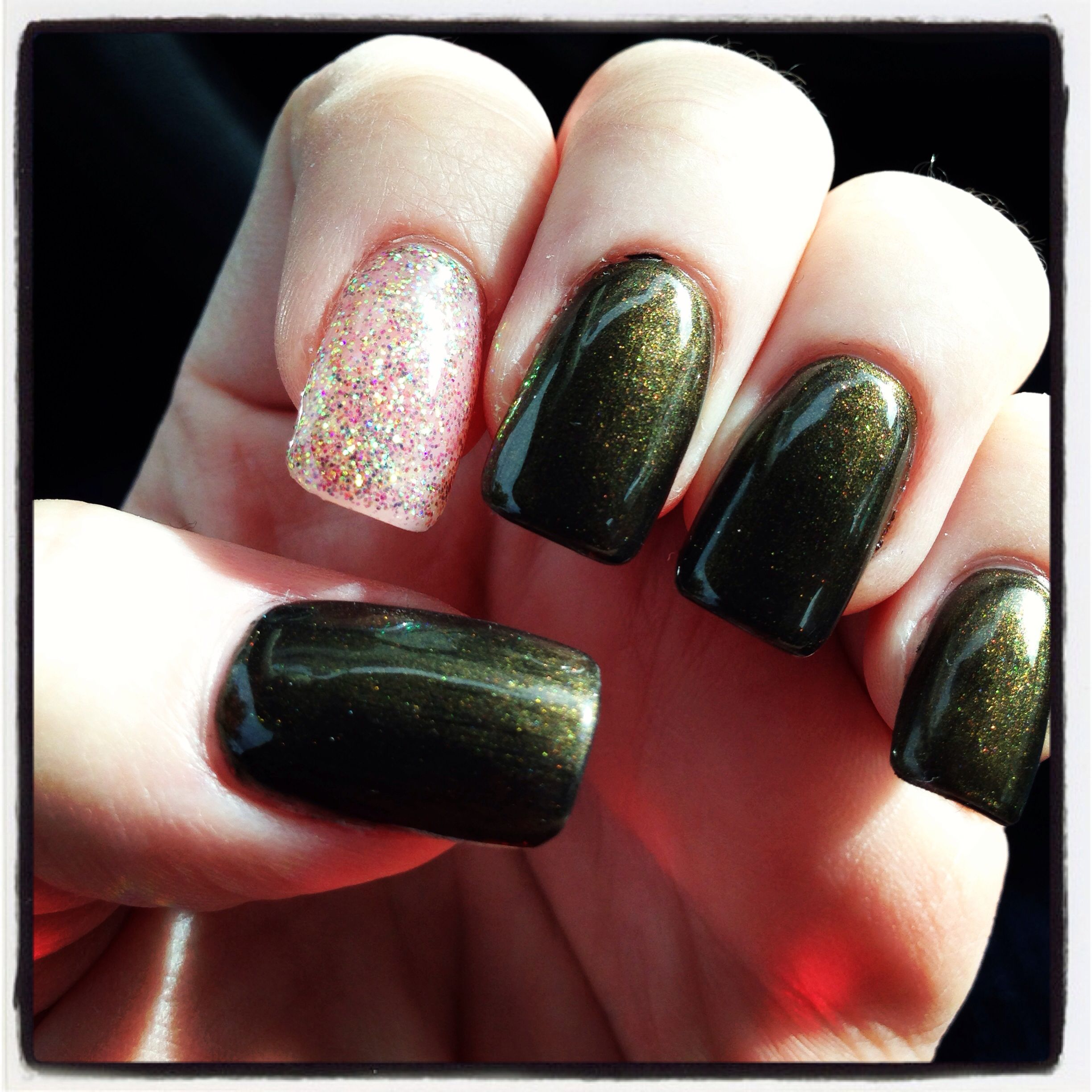 Dark green gel nails, gold glitter accent hopefully like this but ...