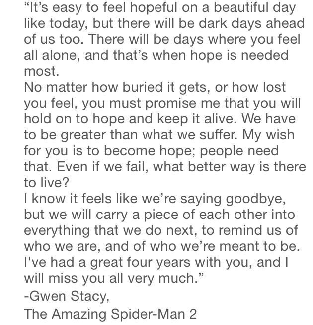 Gwen StacyS Graduation Speech  Graduation Speech Gwen Stacy And