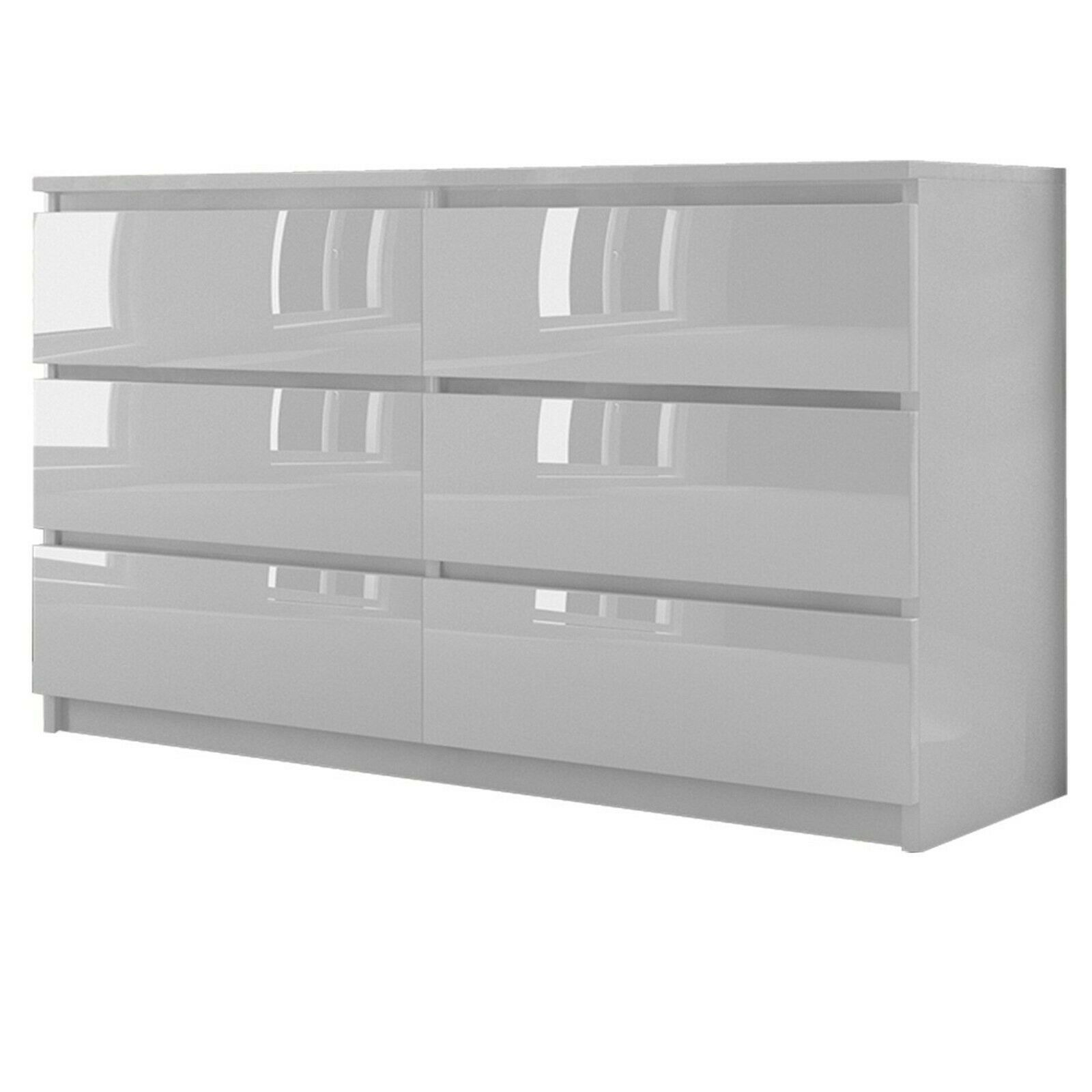 Kommode Mit 6 Schubladen 140cm Hochglanz Sideboard Weiss Anrichte Ebay In 2020 Anrichte Weiss Sideboard Weiss Kommode
