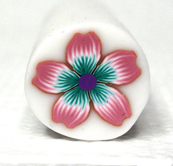 Light pink and green polymer clay flower cane by sigalsart on Etsy, $6.50