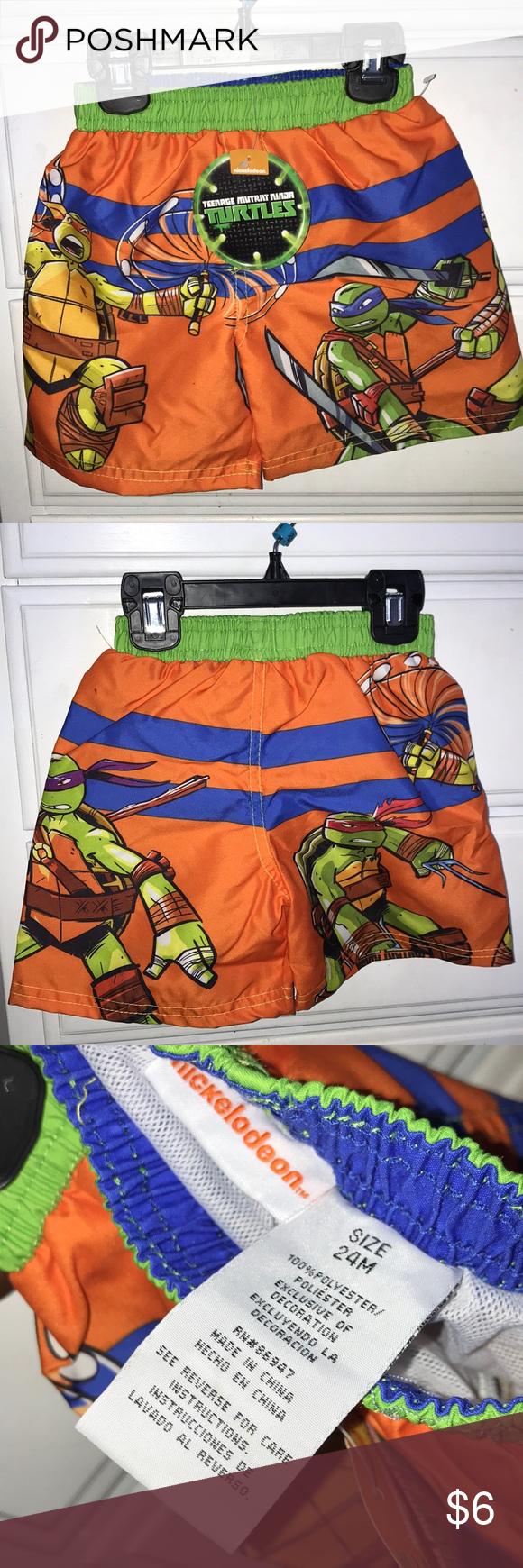 NWT Teenage Mutant Ninja Turtles Boys Kids Short Sleeved Swim Shirt Top Sz XS