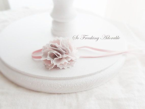 Pink and Gray Damask Fabric Headband  Baby by SoFreakingAdorable, $1.99