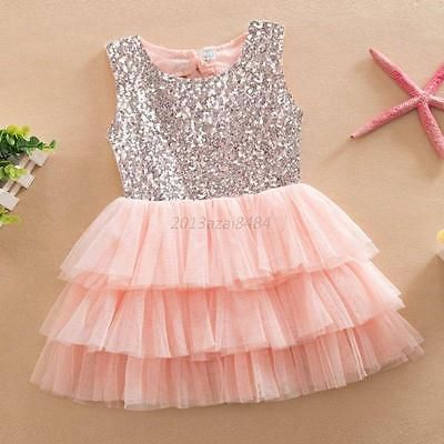 Girls Kids Toddler Baby Princess Party Sequins Bow Wedding Tulle ...