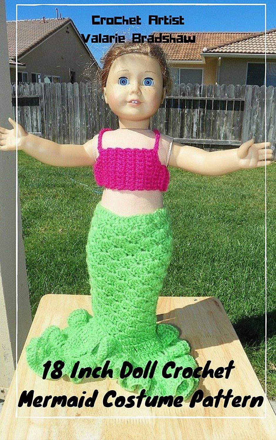 18 Inch Doll Crochet Mermaid Costume Pattern Worsted Weight Fits ...