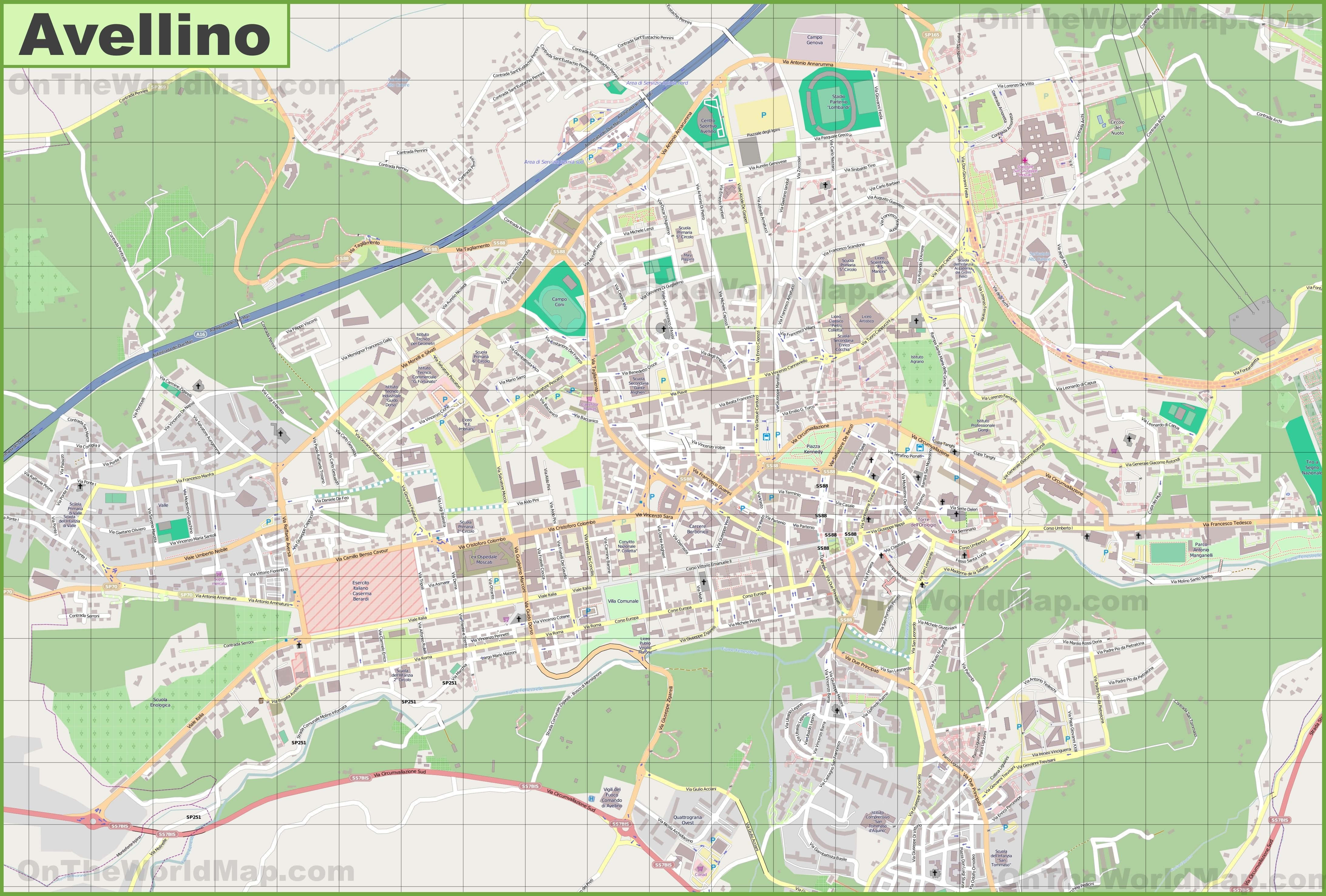 Large detailed map of Avellino Interesting Maps of Italy