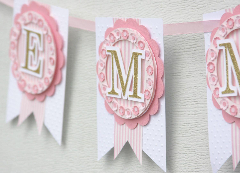 pink and gold nursery decor, nursery banner, baby name banner, pink and gold party decorations, shabby chic banner, baby banner, custom by lizabitsdesigns on Etsy https://www.etsy.com/listing/225183080/pink-and-gold-nursery-decor-nursery