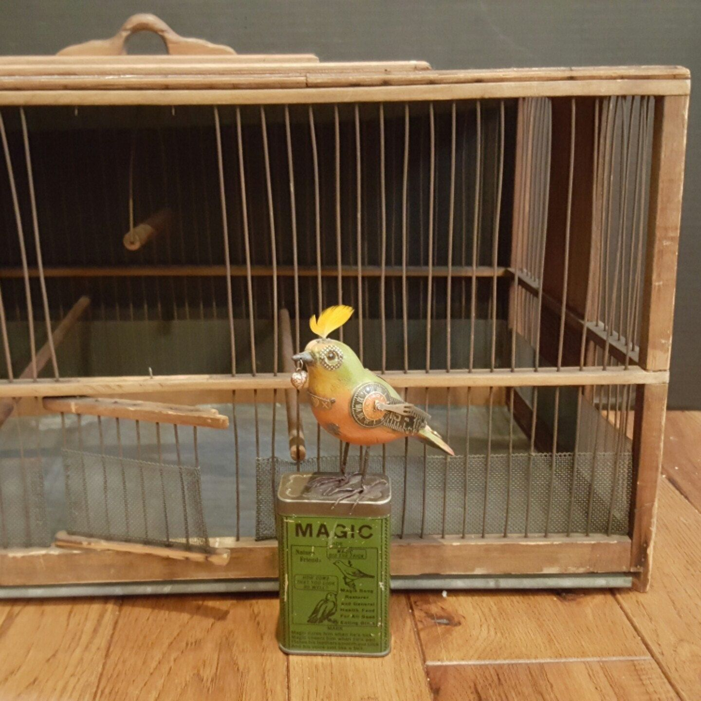 This large wood metal birdcage with zinc bottom bird cage is