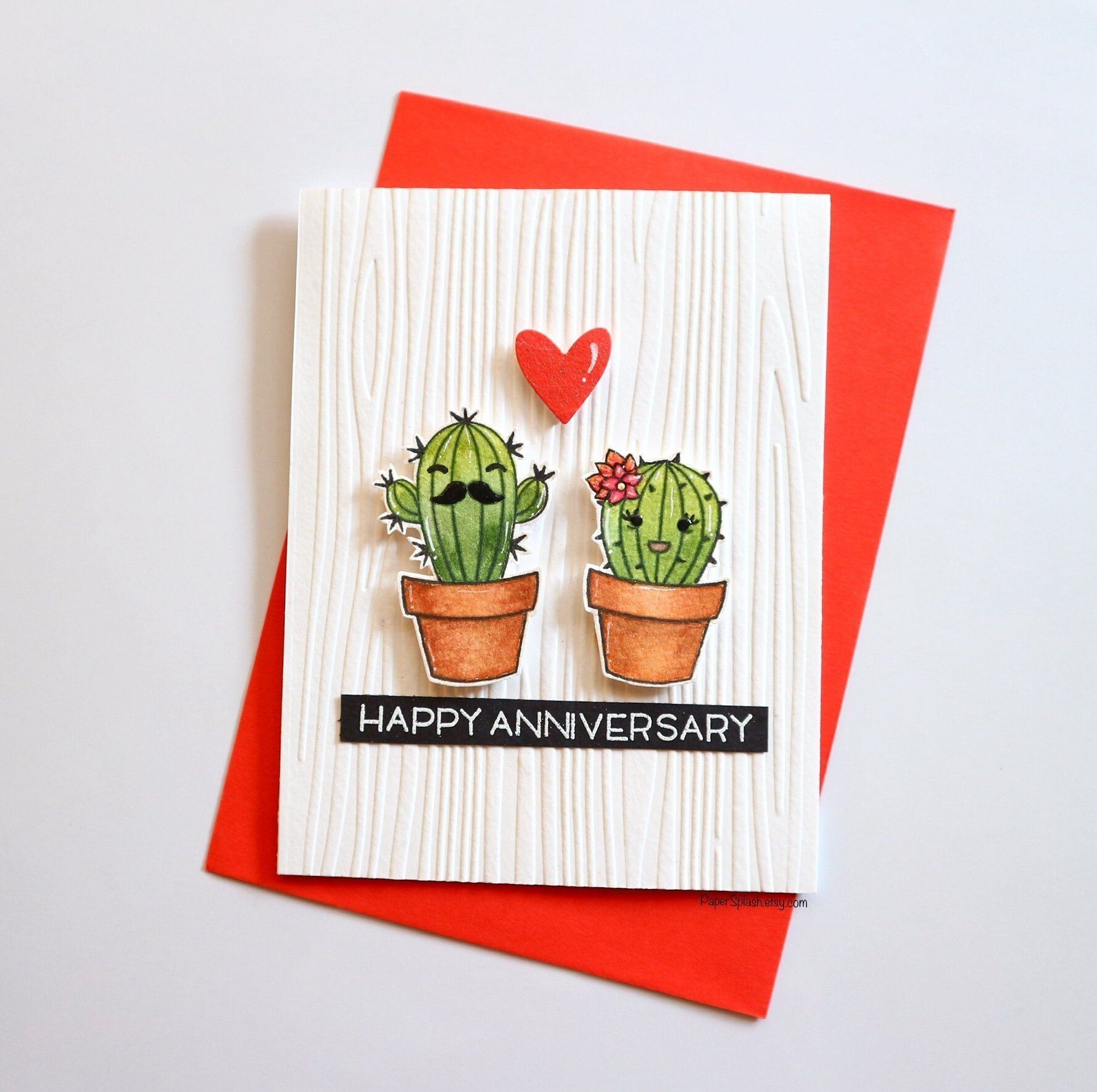 Cactus Anniversary Card Cactus Lovers Gift Handmade Succulent