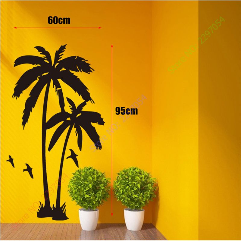 Home Decor Cool coconut palm Tree Mural Wall Stickers Wall Decals ...