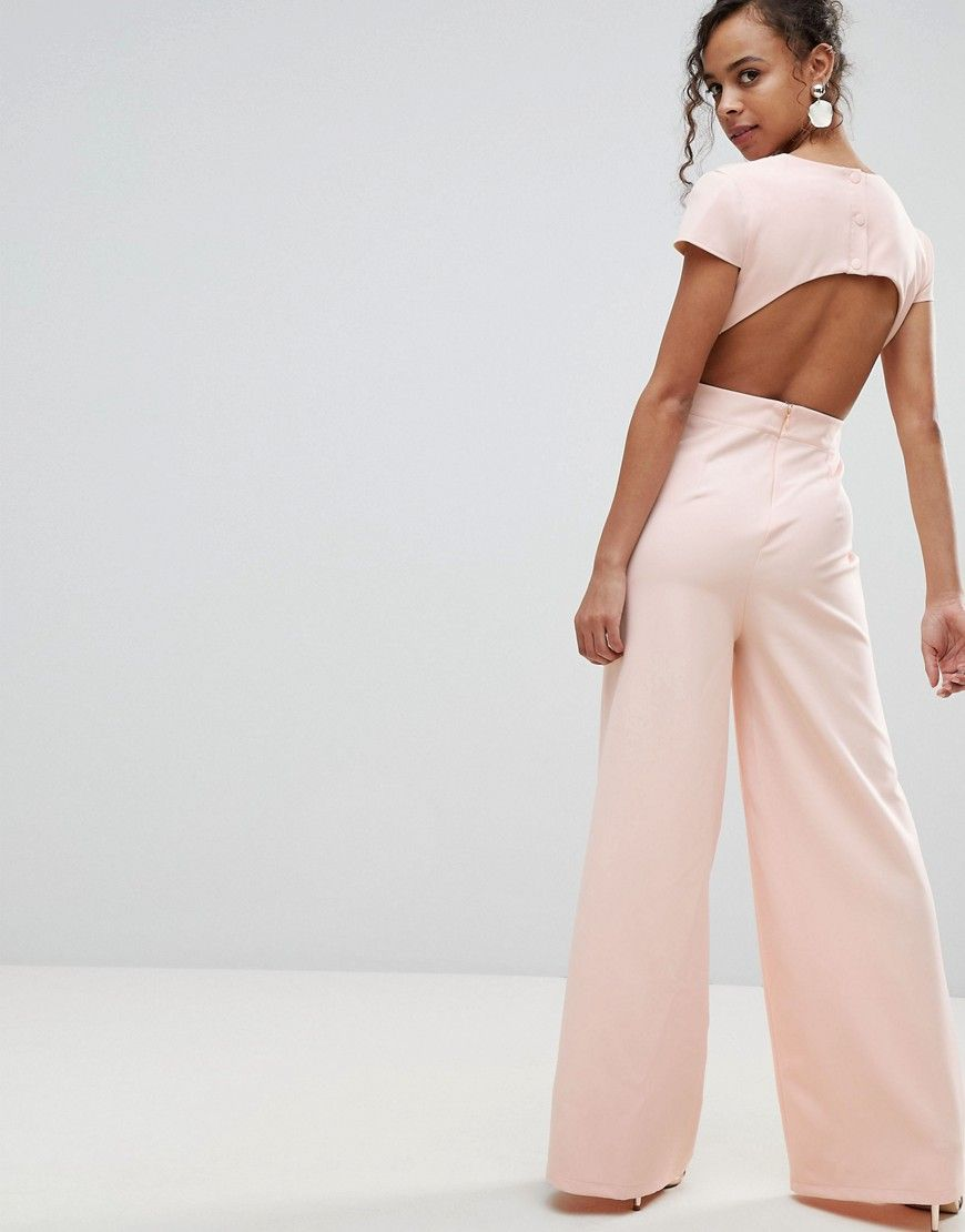 25a2962072 ASOS PETITE Plunge Neck Jumpsuit with Wide Leg and Open Back - Pink ...