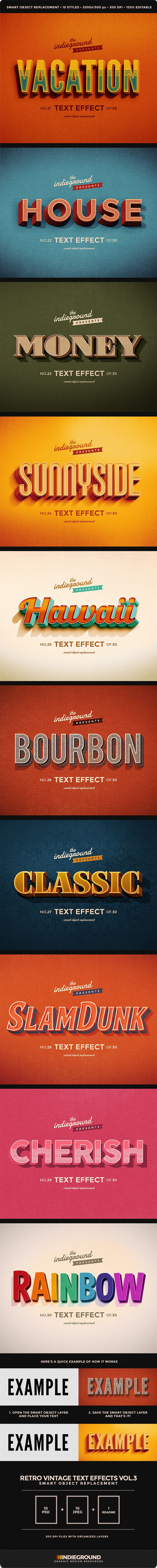 Retro Vintage Text Effects Vol 3 Vintage Text Text Effects Typography