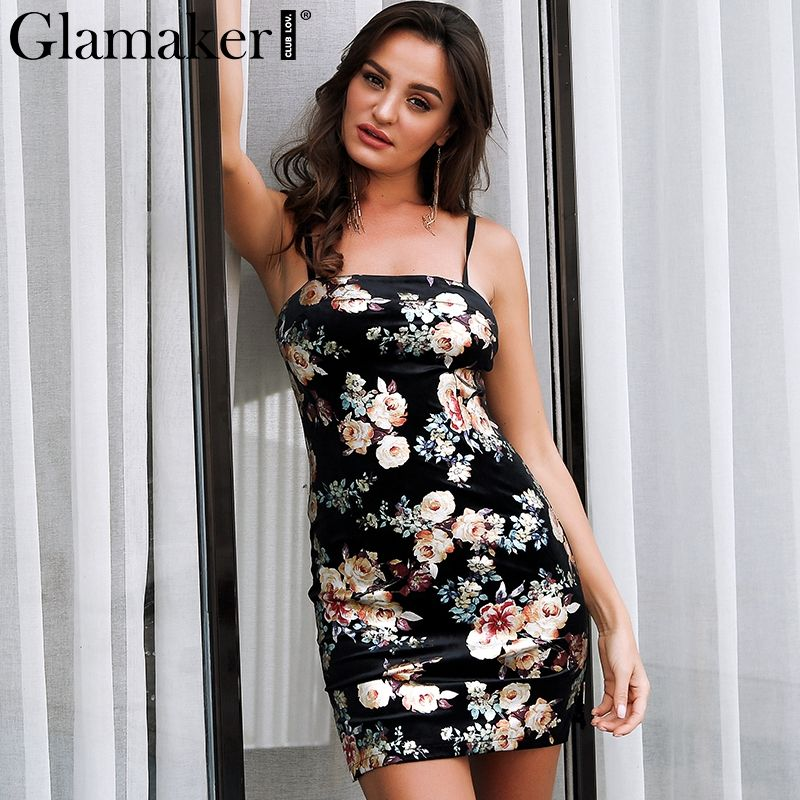 174d96d2a97d Glamaker Flower print women dress Sexy split vintage summer dress vestidos  Slim velvet bodycon mini party